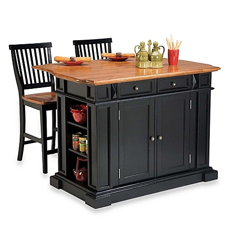 Home styles distressed oak top kitchen island and two barstools bed bath beyond - Bed bath beyond kitchen ...