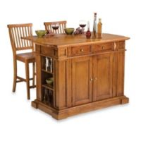 Home Styles Distressed Oak Top Kitchen Island and Two Barstools in Oak