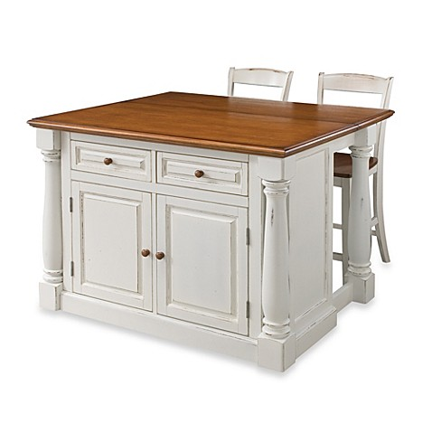 Home Styles Monarch 3 Piece Kitchen Island With Oak Top