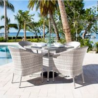 Athens 5-Piece Patio Armchair Dining Set in White Wash with Canvas Cushions