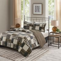 Madison Park Timber Reversible Full/Queen Coverlet Set in Black/Brown