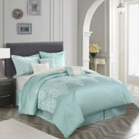 Nanshing Marsha King Comforter Set in Aqua