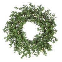 24-Inch Boxwood Pre-Lit Faux Wreath