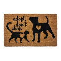 "Entryways ""Adopt Don't Shop"" 17"" x 28"" Coir Door Mat in Black"