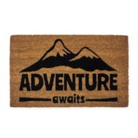 "Entryways ""Adventure Awaits"" 17"" x 28"" Coir Door Mat in Black"