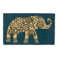 "Entryways Elephant 17"" x 28"" Coir Door Mat in Black"
