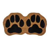 "Entryways Paw Prints 15"" x 28.5"" Coir Door Mat in Black"