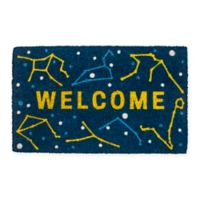 "Entryways Celestial 17"" x 28"" Coir Door Mat in Blue/Yellow"