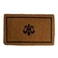 "Entryways Fleur de Lis 18"" x 30"" Thick Coir Door Mat in Black"