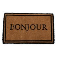 "Entryways Bonjour 18"" x 30"" Thick Coir Door Mat in Black"