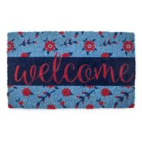 "Entryways Petite Fleur 18"" x 30"" Thick Coir Door Mat in Blue/Pink"