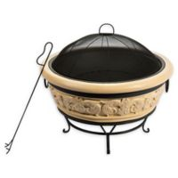 Peaktop Round Intricate Design Wood-Burning Fire Pit in Sand