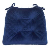Everly Velvet Chair Pad in Blue