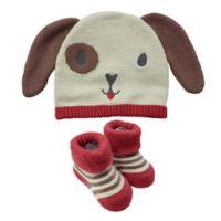 NYGB™ Newborn 2-Piece Dog Hat & Bootie Set in Brown/Red