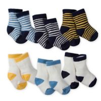 Gerber® Size 3-6M 6-Pack Wiggle-Proof Fox Crew Socks in Blue/White