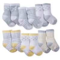 Gerber® Size 3-6M 6-Pack Wiggle-Proof Lamb Crew Socks in Grey/Yellow