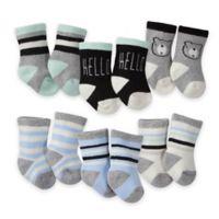 Gerber® Size 3-6M 6-Pack Wiggle-Proof Bear Crew Socks