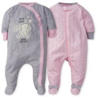 Gerber® Preemie 2-Pack Bunny Polka Dot Sleep n' Play Footies in Pink/Grey