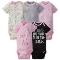Gerber ONESIES® 5-Pack Bunny Short Sleeve Bodysuits in Pink/Grey
