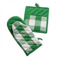 Design Imports 2-Pack Shamrock Buffalo Check Oven Mitt in Green