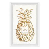 """Marmont Hill Golden Pineapple 16"""" x 24"""" Framed Wall Art"""