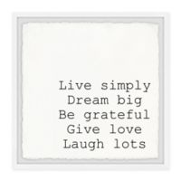 Marmont Hill Live Simply Dream Big III 24-Inch Squared Framed Wall Art