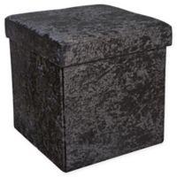 Simplify Velvet Foldable Storage Ottoman in Silver