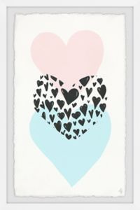 Marmont Hill Triple Hearts 24-Inch x 36-Inch Framed Wall Art