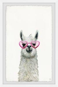 Marmont Hill Pink Trendy Llama 12-Inch x 18-Inch Framed Wall Art
