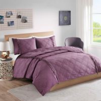 Intelligent Design Shyla Solid Reversible Twin/Twin XL Coverlet Set in Purple