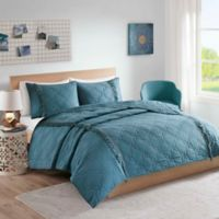 Intelligent Design Shyla Solid Reversible Twin/Twin XL Coverlet Set in Teal
