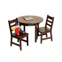 Lipper International Child's Round Table & 2 Chairs Set in Walnut