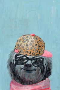 Marmont Hill Hipster Sloth 12-Inch x 18-Inch Canvas Wall Art
