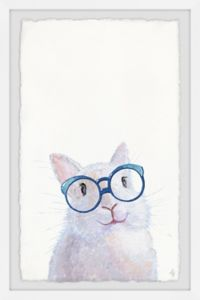 Marmont Hill Nerdy Bunny 24-Inch x 36-Inch Framed Wall Art