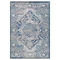 Vintage Border and Medallion 4' x 6' Area Rug in Navy/Light Grey