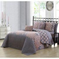 Avondale Manor Amber Reversible King Quilt Set in Grey/Blush