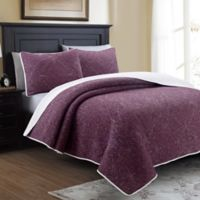 Marseille Reversible Twin Quilt Set in Aubergine/White