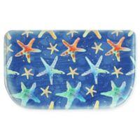 "Bacova Watercolor Starfish 18"" x 30"" Memory Foam Slice Rug in Blue"