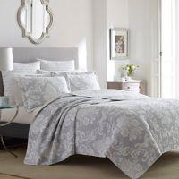 Laura Ashley® Venetia King Quilt Set in Grey