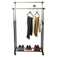 Simplify Adjustable-Height Rolling Double-Tier Garment Rack in Black