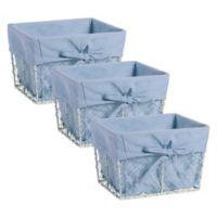 Design Imports Farmhouse Chicken Wire Small Baskets in Blue Demin (Set of 3)