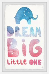 Marmont Hill Colorful Dream Big Little One II 20-Inch x 30-Inch Framed Wall Art