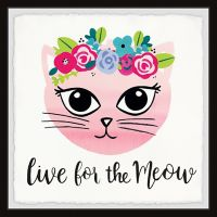 Marmont Hill Live for the Meow 32-Inch Squared Framed Wall Art