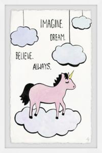"Marmont Hill Imagine Dream Believe 16"" x 24"" Framed Print Wall Art"