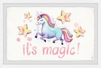 Marmont Hill Cute Unicorn's Magic 18-Inch x 12-Inch Framed Wall Art