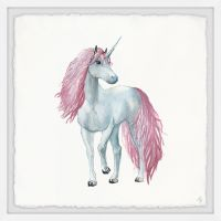 Marmont Hill Pink-haired Unicorn 18-Inch Squared Framed Wall Art
