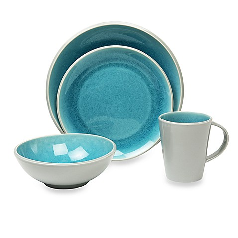 Baum canvas crackle 16 piece dinnerware set in teal bed for Teal bath sets
