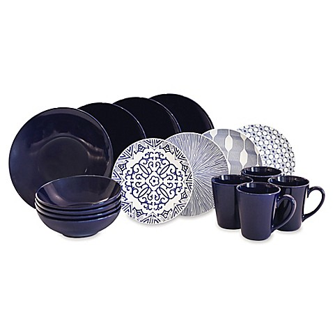sc 1 st  Bed Bath u0026 Beyond & Baum Brothers 16-Piece Dinnerware Set in Blue/White - Bed Bath u0026 Beyond