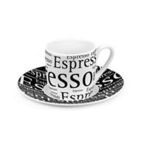 """Konitz """"Espresso"""" Writing Espresso Cups and Saucers in White (Set of 4)"""