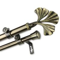 Rod Desyne Fortune 48 to 84-Inch Double Drapery Rod with Finials in Antique Brass